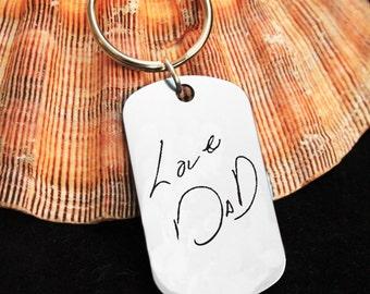 Custom Handwriting Keychain - Handwriting Keychain - Memorial Keychain - Signature Jewelry - Signature Keychain - Personalized Engraved