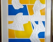 Rare ca.1960 Listed Artist Tennis Players Embossed Etching