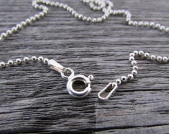 Sterling Silver Ball Chain, 20 Inch Chain, 1.5mm Chain, Silver Bead Chain, Sterling Silver Bead Chain, 925 Chain, Italian Silver Chain