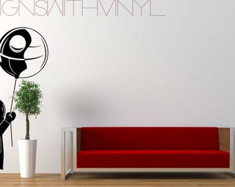 Baby Vader Holding a Balloon - Wall, Die Cut Vinyl, Kitchen, Living Room, Bedroom, Home Decal, MAT43