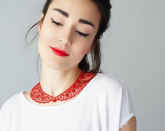 40%OFF Red Collar Lace Collar Peter Pan Collar Lace Accessory Women Accessory Gift For Her Valentines Day/ MASERIS