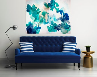 Large Abstract Painting Print, Abstract Art on Paper, Navy Blue Green Print, Large Art Print, Bright Art Blue Artwork Abstract Print, Begin