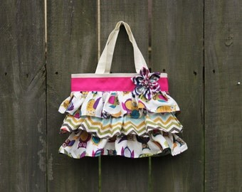 Purple and Pink Chevron Owl Birthday Party Bag, Ruffled Canvas Tote, Little Girl Purse, Daycare Canvas Tote, Diaper Bag Accessory