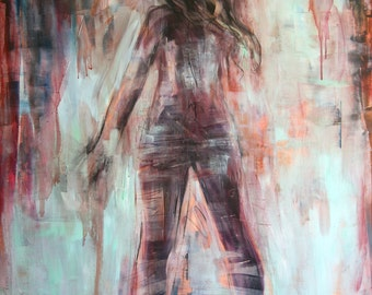 Original 30 x 40 inch expressive oil painting of a nude female figure by Meredith O'Neal