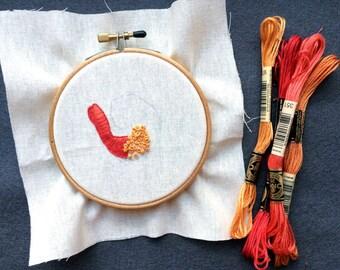 Embroidery pattern for shrimp emoji