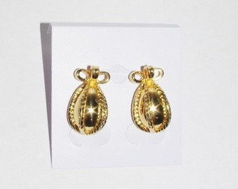 Joan Rivers Egg Earrings - Gold Tone Pierced -  S1325