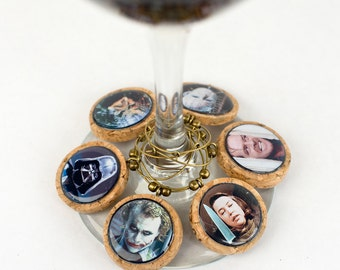 Movie Villain Wine Charms, Wine Glass Charms, Choose Your Villain, Custom Wine Glass Charms, Housewarming Gift, Gift for Movie Buff