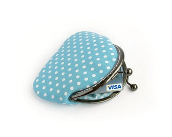 Blue Polka Dots Purse with Frame, Made to order