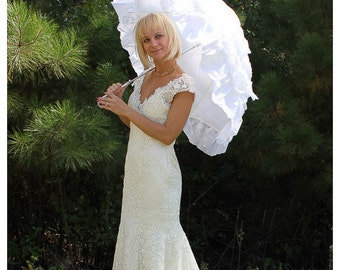 Wedding Parasol Bridal Umbrella with Multi Layers of Gorgeous Fabric 1pc in White