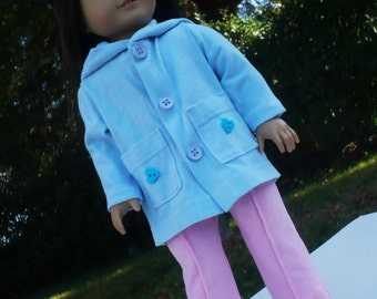 american doll clothes, doll outfit, hood jacket and pants, lite blue jacket , pink pants