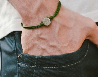 Men's bracelet, green cord bracelet for men with a silver round charm, green cord, bracelet for men, gift for him, men's jewelry, karma