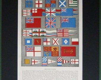 1950s Vintage Print of British Flags - Maritime Flags - English Flags - Heraldry Decor - Ship Art - Nautical Art - Colorful Art - Union Jack