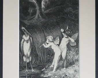 1880s Antique Print of Cherubs - Victorian Decor - Cherub Gift - Woodland Fairies - Fairy Art - Stork Print - Fantasy Art - Wood Engraving