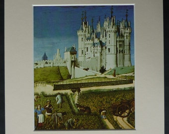 Vintage Medieval Print - Peasants Farming Outside the Walls of a Castle White castle decor - Middle Ages Gift, Old 14th century medieval art