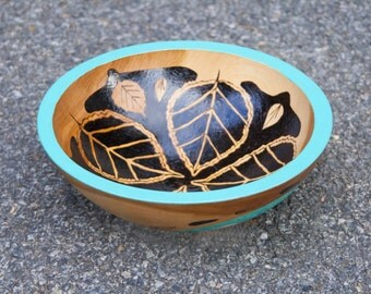 Turquoise wooden bowl woodburning**Made to order