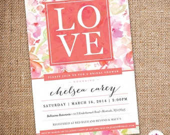 Love - Bridal Shower Invitation (Digital file)