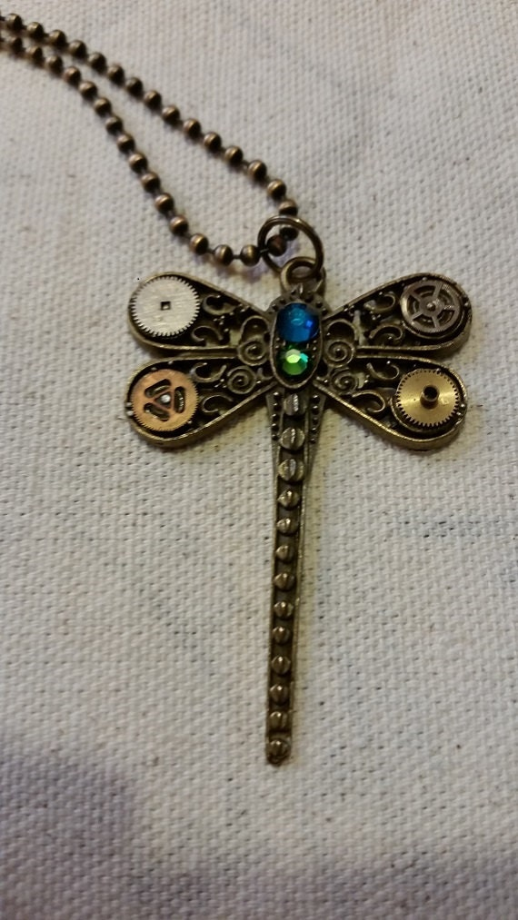 Steampunk Mechanical Dragonfly Necklace