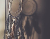 Gypsy Decor Dream Catcher with Black Feathers , Skulls and Silver beads