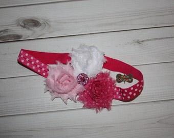 MORE COLORS-Boutique Style-Shabby Chic-Infant Headband-Pink-Polka Dot-Flower Headband-Hot Pink Headband-shabby chic-Petite Bows