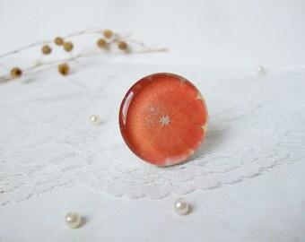Resin Ring Orange Ring Citrus Ring Fruit Ring Fruit Jewelry Large Ring Epoxy Resin Jewelry Adjustable Ring Bridesmaids Gift for Her