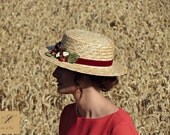 Canotier hat - Straw summer hats - Floral sun hat for women - Spring hats For her