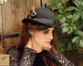Black bowler hat - Felt winter hats for women - Women hats - British style millinery - Modern bowler hat