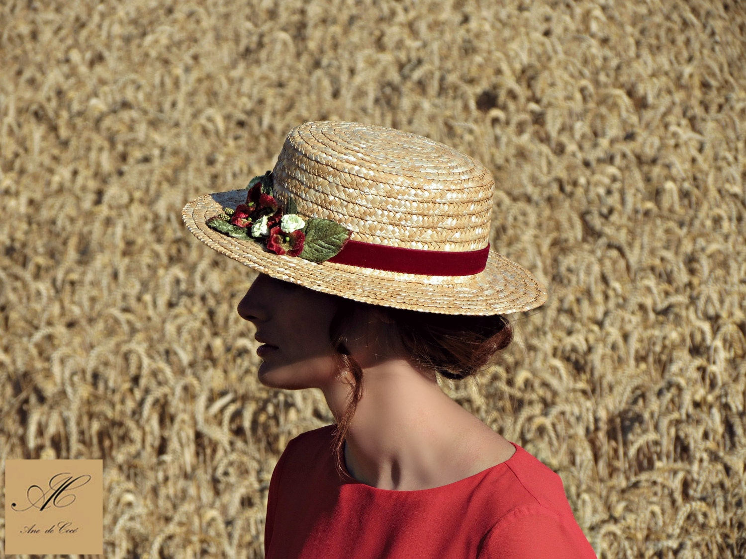 Canotier hat Straw summer hats Floral sun hat for women