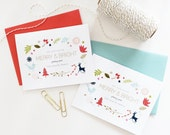Custom Christmas Card Set. Family Name Christmas Holiday Card Set. Holiday Cards. Blank Custom Christmas Cards. Modern Holiday Cards.