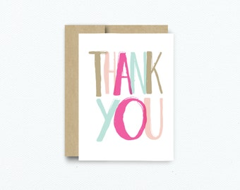 Thank You Greeting Card. Thinking Of You. Modern Thank You Card. Handmade Card. Thank You Card Item # 192