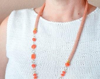 Jewelry set, long necklace bracelet seed bead crochet rope pink orange peach