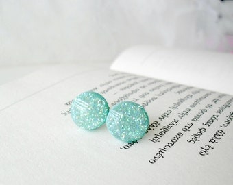 Glitter Mint green post earrings- Everyday jewelry