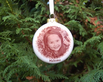 Photo Ornament, 3 inch Round Ornament with YOUR photo or artwork Fired On, Custom Photo Ornament, Christmas Photo ornament, picture ornament