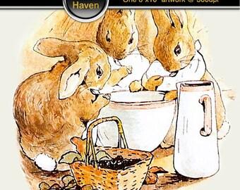 Tale of Peter Rabbit featuring 2 peter rabbit images, instant download - digital art - artwork - 8x10 - 2 image