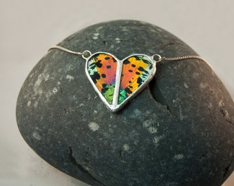 FREE SHIPPING  Real Sunset Moth Wings Encased in Hand Cut Glass and Soldered Heart Pendant Necklace