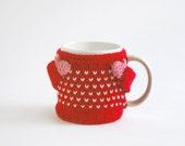 Heart Mug Sweater, in Red