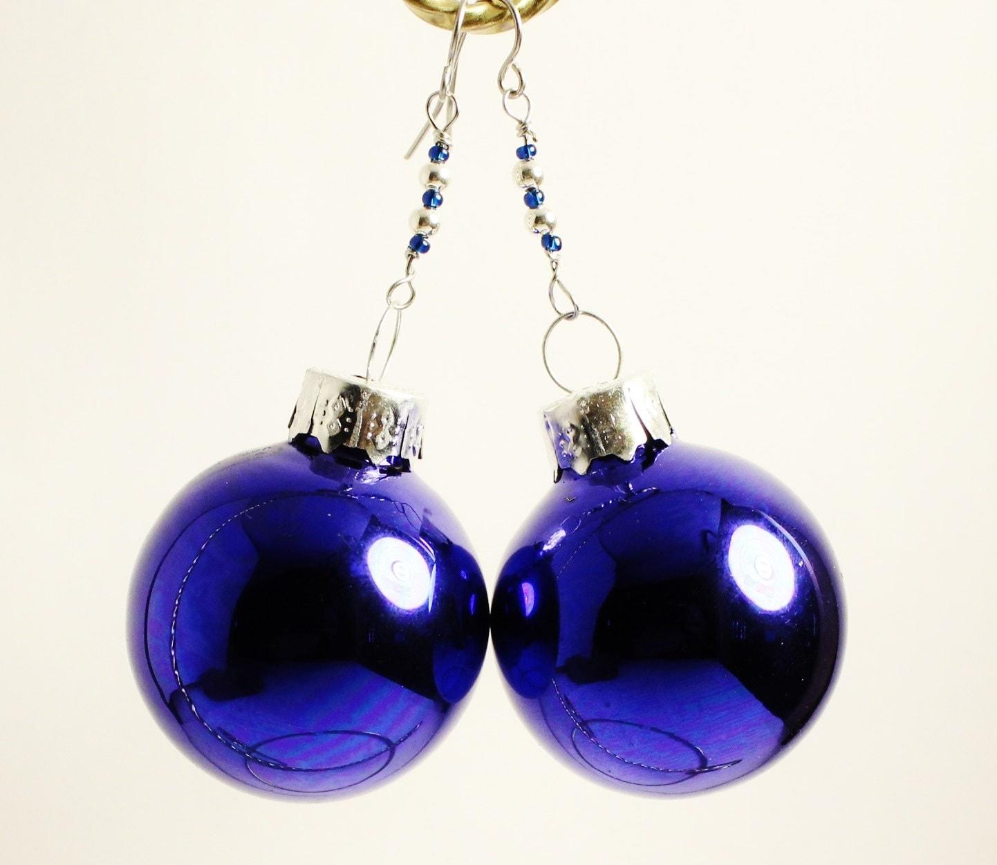 Christmas ornament earrings blue glass ball round