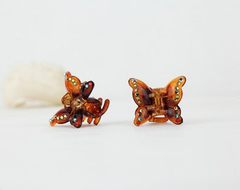 Multicolor crystal mini hair clips,a pair of butterfly hair claw clips decorated with Swarovski elements crystals,black or brown hair jaws