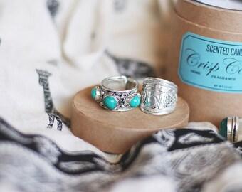 Tibetan vintage Turquoise Gemstone Adjustable ring Bohemian jewelry Gypsy jewelry