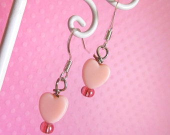 Fairy Kei Pink Heart Earrings, Cute Pastel Lolita Jewelry for Girls and Teens