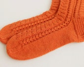 Hand knitted orange wool socks, Orange lace wool socks, Tangerine wool socks, Orange women wool socks, Fall winter fashion