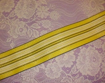 Vintage Lawn Chair Webbing - 6 yards for Crafting, Yellow, White and Black