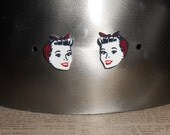 Retro Rockabilly Earring Posts cute vintage clipart of woman with bandanna headband, red white and blue, vintage pinup girl