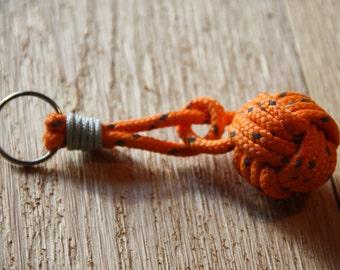 Monkeys Fist Key Chain with Retro- Green- Orange