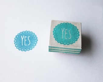 Yes stamp, hand carved
