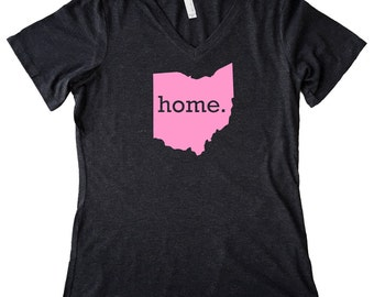 V Neck Ohio Home State T-Shirt Women's Triblend PINK EDITION Tee - Sizes S-XXL