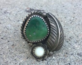 Turquoise ring Vintage southwestern green Navajo Sterling silver Mother of Pearl feather Sleeping Beauty. Native American Jewelry signed