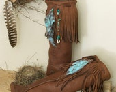 Chocolate Brown leather Moccasins - Elk Moccasins - Fringed Native American Influenced Moccasins