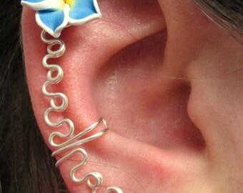 Silver Ear Climber Ear Cuff, Flower Ear Climber Ear Cuff, No Pierce Ear Climber, Bridal Ear Climber, Ear Climber Earrings, Ear Climber