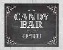 Printable Candy Bar, Help Yourself - Chalkboard Wedding Sign 8x10 5x7 Dessert Bar Farewell Table Candy Station After Party Goodie Bag Rustic