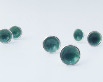 Deep Green Sea Sterling silver and Green enamel Post stud Earrings